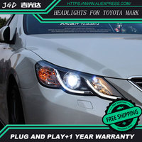 Автомобиль голове стиль лампы для Toyota Mark X фары 2012 Mark X светодиодные фары DRL H7 D2H HID вариант Ангел глаз bi xenon