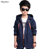 Kids Denim Coats Boys Jeans Jackets Children Autumn Trench Boys Hooded Clothes Outerwear