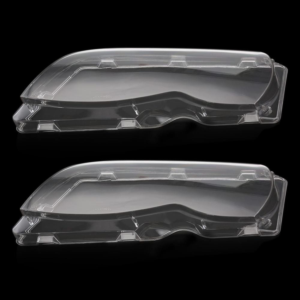 New 2 Pcs Transparent Housing Headlight Lens Shell Cover Lamp Assembly For BMW E46 2002-2005 4 Doors