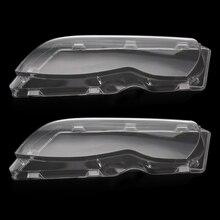 New 2 Pcs Transparent Housing Headlight Lens Shell Cover Lamp Assembly For BMW E46 2002 2005 4 Doors