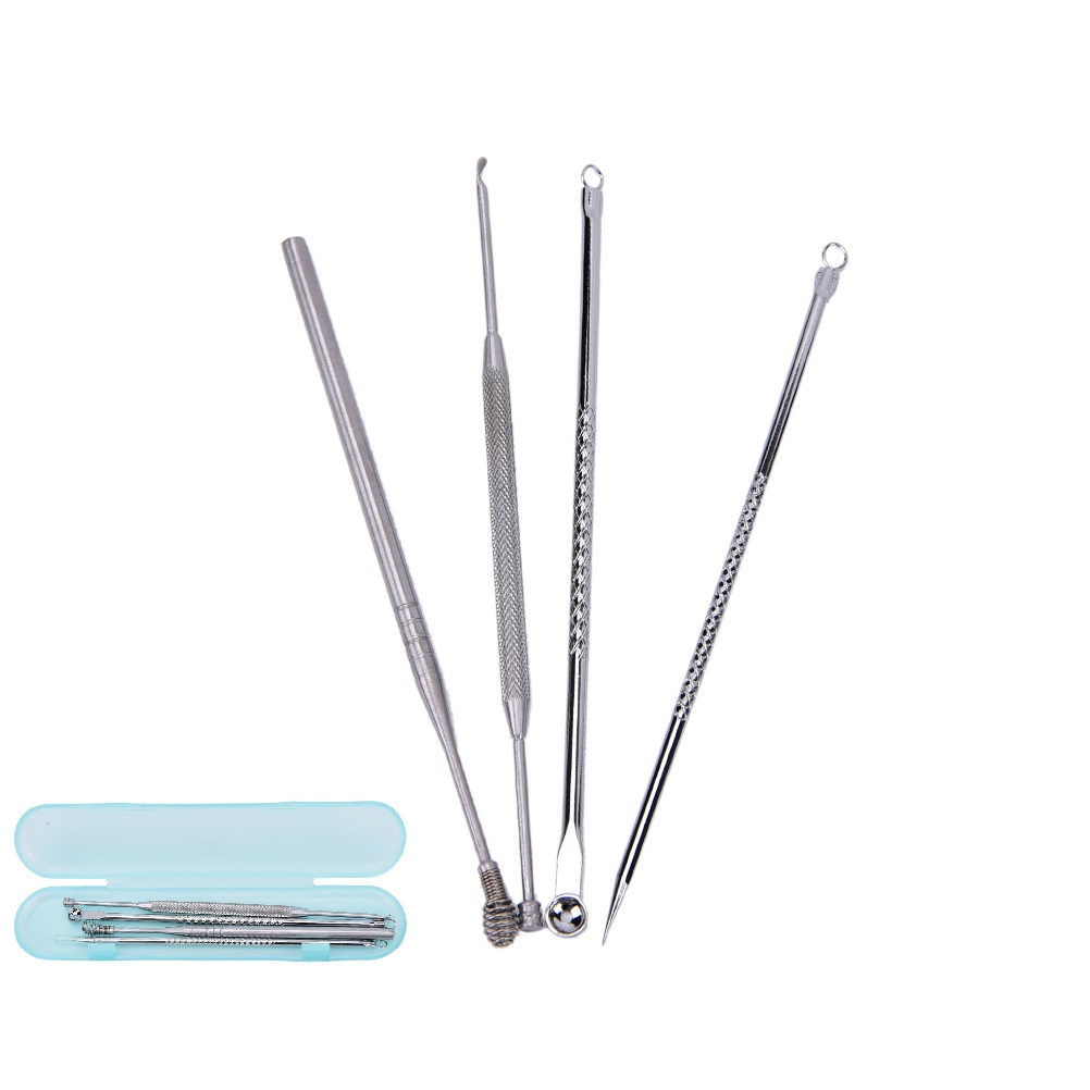 4 Pcs Blackhead Pimple Comedone Acne Extractor Remover Tool+Ear Wax Stick Kit Set Premium Stainless Steel
