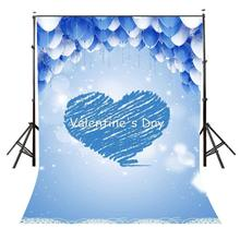 5x7ft Valentine's Day Backdrop Blue Heart Pattern Backdrop Blue and White Balloons Photography Background Studio Props 5x7ft fantasy blue