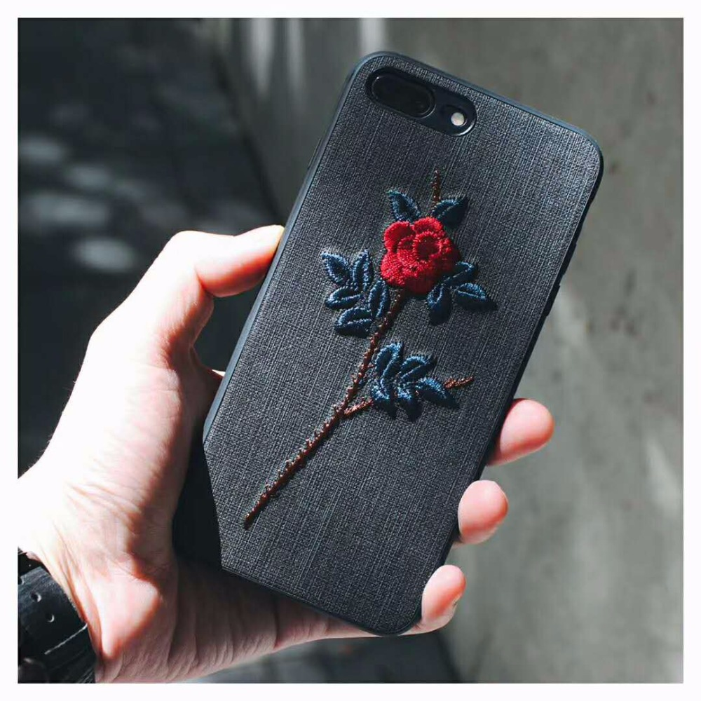mosirui for iPhone 6 6S <font><b>7</b></font> <font><b>8</b></font> plus <font><b>X</b></font> Three - dimensional embroidery rose cell phone case with embroidery case for oppo r11s plus