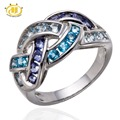 Genuine Aquamarine Blue Topaz Iolite Solid 925 Sterling Silver Woven Ring For Women Fine Jewelry