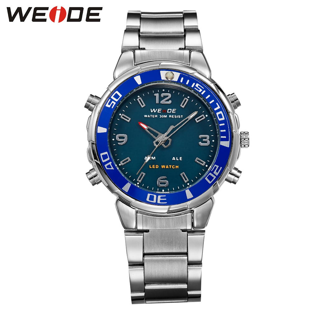 WEIDE quartz sports wrist watch casual genuine watch stainless steel date digital led relogios mehanical hand wind watches sport weide men watch quartz contracted watch stainless steel date sport in digital watches led round big dial luxury fashion casual
