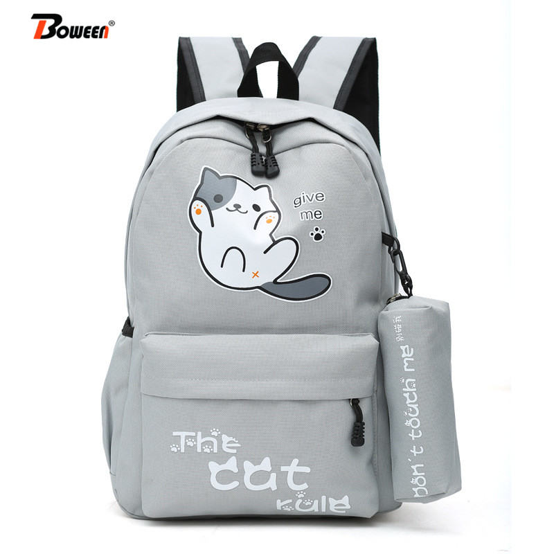Cute Cartoon Cat School Bags Teenager Girls Backpack For Women Bag School Solid Nylon Student Schoolbag Teen Casual Bookbag 2019