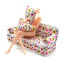Subcluster Mini Sofa Play Toy Flower Print Sofa Baby Pretend Toy Furniture Sofa for Doll Couch Full Cushions Pillows Doll House