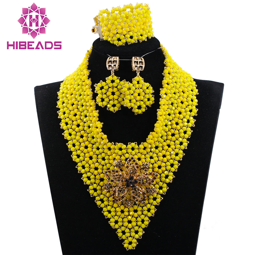 African Yellow Beads Jewelry Set Mix Yellow Crystal Beaded Chunky Women Jewelry Set 2017 New Free Shipping WD569African Yellow Beads Jewelry Set Mix Yellow Crystal Beaded Chunky Women Jewelry Set 2017 New Free Shipping WD569
