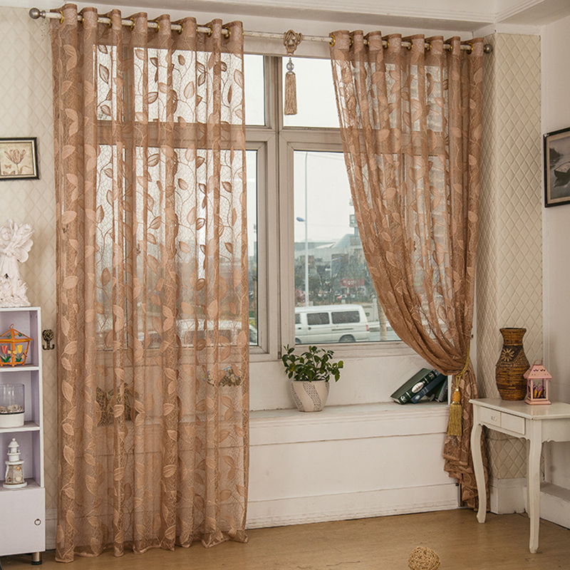 Window Screening Velor Leaves Natural Modern Living Room Curtain Chinese Net  Curtains 6412