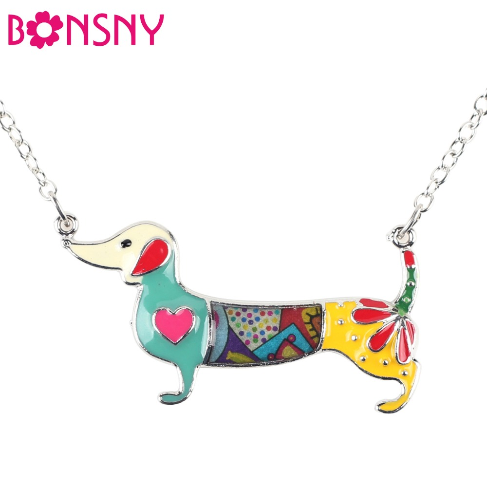 Bonsny Statement Metal Alloy Emalje Dachshund Dog Choker Halskjede Chain Collar Anheng 2016 Fashion Nye Smykker For Kvinner