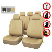 Car pass Luxury PU Leather Auto Universal Car Seat Covers Seat Covers Black Gray Beige for toyota lada renault Honda Ford SUV