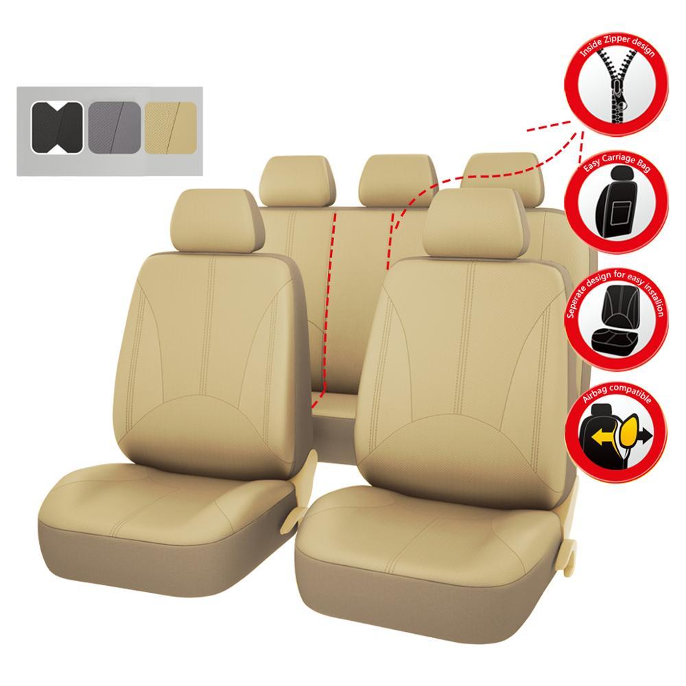 Couvre-siège Auto universel en cuir PU de luxe pour voiture couvre siège noir gris Beige pour toyota lada renault Honda Ford SUV
