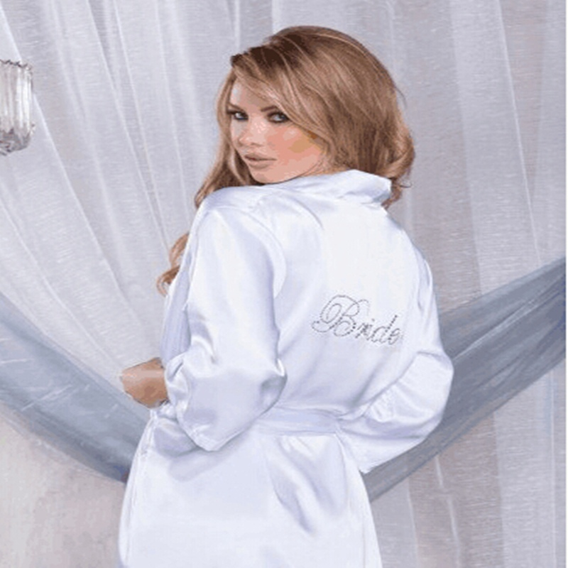 Silk Bridesmaid Robes Bride White And Pink Wedding Robe Maid Name Customized On Back Bathrobe In From Women S