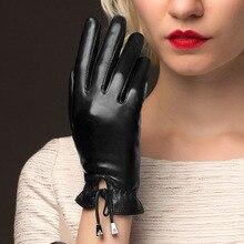Sheepskin Real Leather Gloves Female Plus Velvet Autumn Winter Keep Warm Fashion Black Womans NW775-1