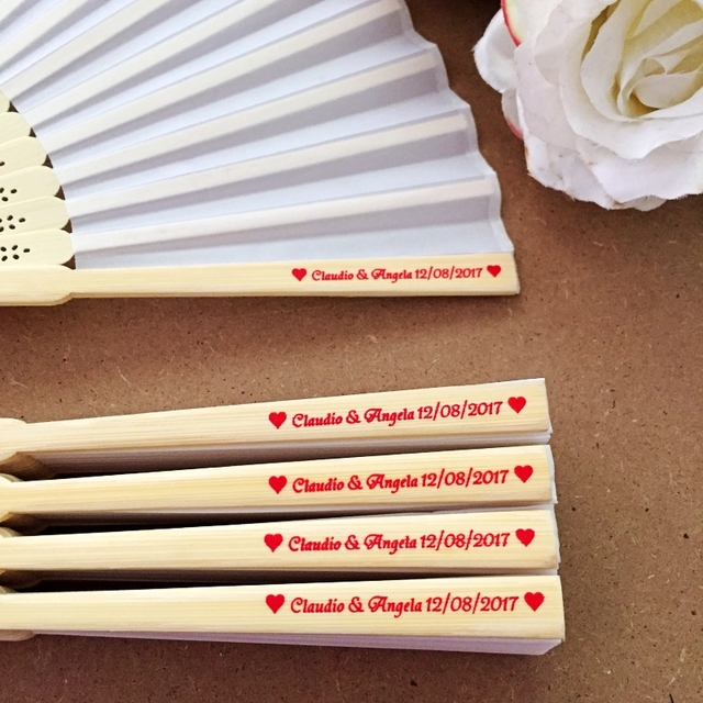 50PCS Personalized Engraved Bamboo Folding Silk Hand Fan Customized Wedding Favor Birthday Baby Shower Holiday Gift For Guests