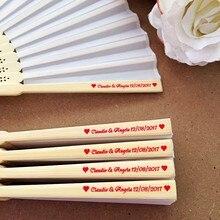 50 pçs personalizado gravado bambu dobramento de seda mão fã personalizado impressão foto favor do casamento aniversário chá de fraldas presente