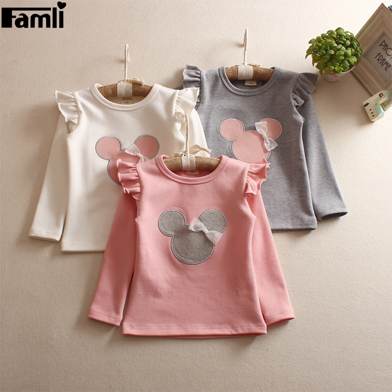 Famli Infant Girls Cute T-Shirt 2017 Baby Girls Autumn Long Ruffle Sleeved Cartoon Shirt Kids Spring Fashion Tee Tops ruffle trim solid tee