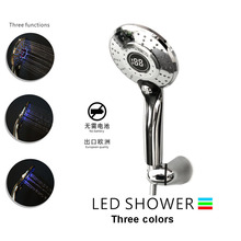 3Colors Water Powered Led Temperature Shower Head Digital Display Handheld Bathroom Showerhead Sprayer Douche