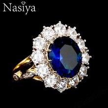 Nasiya дизайн романтическое роскошное кольцо золотого цвета с 13x18 мм большие овальные драгоценные камни-сапфиры модные ювелирные изделия