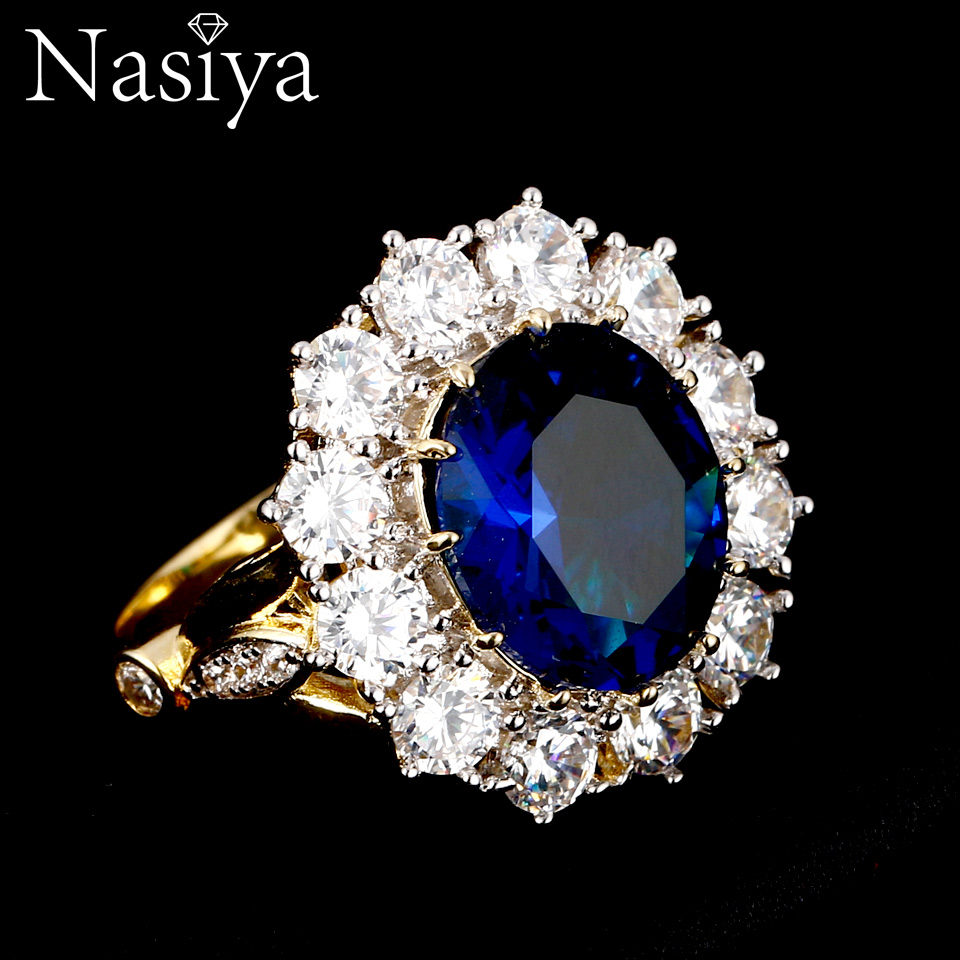 Nasiya New Design Romantic Luxury Ring Golden Color With 13x18MM Big Oval Sapphire Gemstones Fashion Fine Jewelry Wholesale(China)