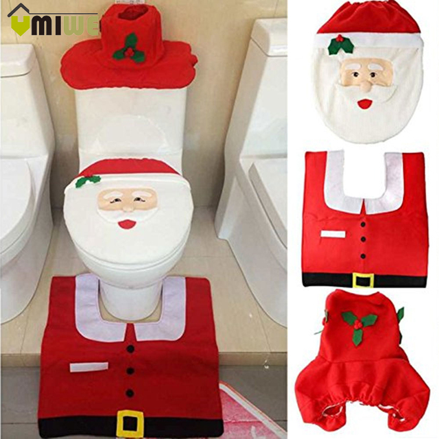 New Year Christmas Home Decorations Bathroom Toilet Seat Cover Sets 3pcs/set Generic Happy Santa Toilet Seat Cover and Rug Set