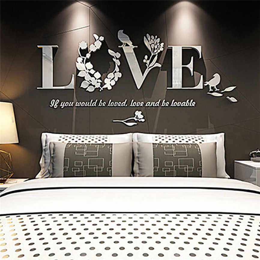 New Arrival DIY Romantic Free shipping    Stylish Removable 3D Leaf LOVE Wall Sticker Art Vinyl Decals Bedroom Decor B035