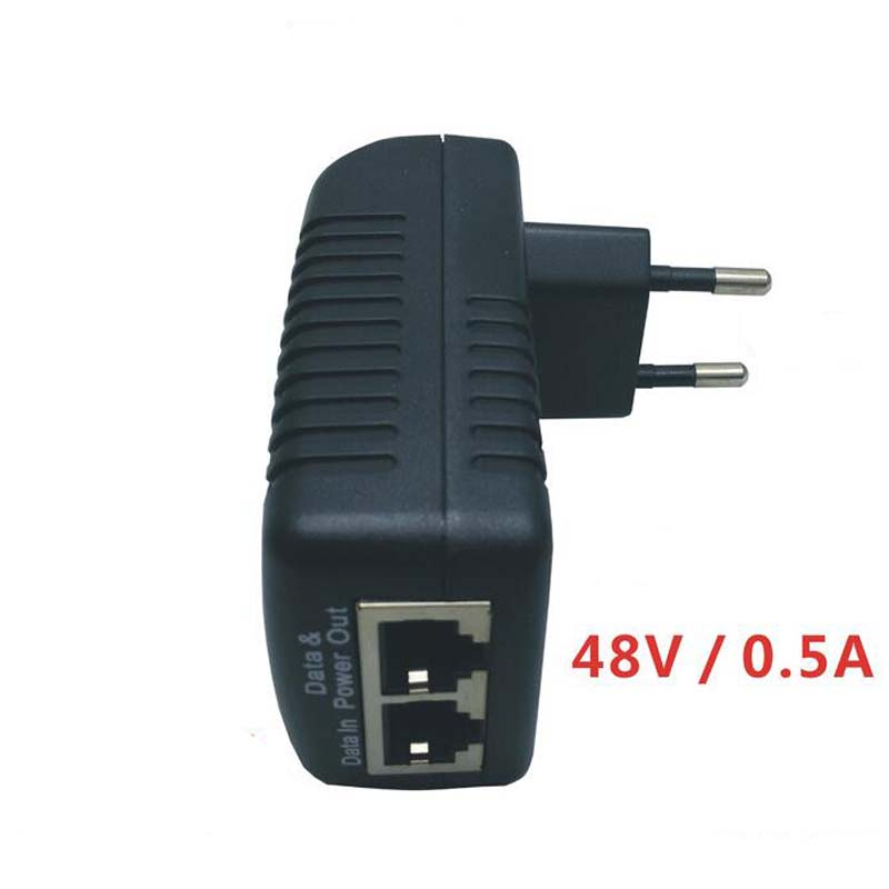 POE injector Ethernet Power Supply Adapter DC48V 0.5A 15.4W,POE pin4/5(+),7/8(-)CompatibleW/T IEEE802.3af for IP camera IP Phone