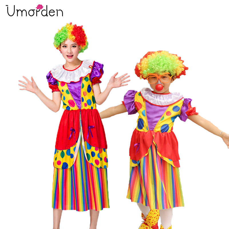 Umorden Halloween Carnival Party Costumes Mom Kids Girls Circus Clown Costume Family Cosplay Long Dress for Mother Daughter