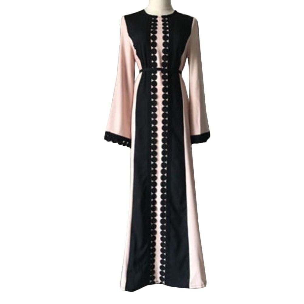 2017 Vintage Women Slim Summer Casual Dress Long Abaya Sleeve Soft Dress For Kaftan Islamic MuslimTurkish Arabic Appliques
