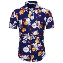купить 2019 Summer Hawaii Short Sleeve Flower Shirt Floral Print Casual Beach Shirt дешево