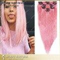 Melhor qualidade 8a rosa extensões de cabelo humano 100% grampo na extensão do cabelo virgem brasileiro em linha reta rosa para a menina da moda/mulheres DHL