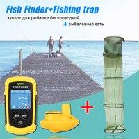 Wireless Fish Finder Portable LCD Depth 120M Sonar Sensor Echo Sounder Alarm with Fishing Net Creel Tackle Fish Trap Foldable