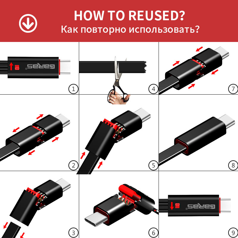 Image 3 - GARAS Reused USB Cable For iPhone/Micro USB/Type C Fast Charger Data Cable For iPhone/iPad/Xiaomi/Huawei Reusable USB Cable 1.5m-in Mobile Phone Cables from Cellphones & Telecommunications