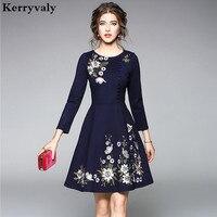 Elegant Women Floral Embroidered Dress Vetement Femme 2018 Spring Vintage Gothic Dress Robe Pull Femme Hiver