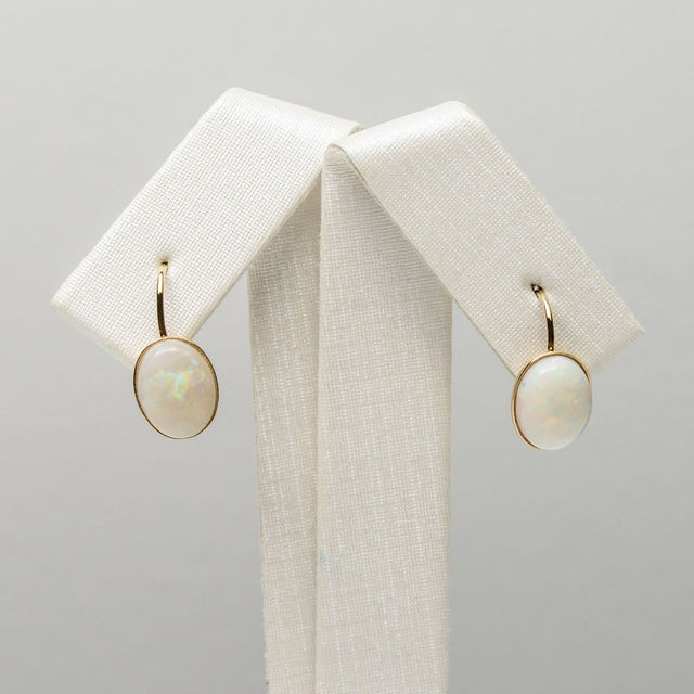 7 9mm White Natural Opal Gemstone Leverback Earrings 14k Solid Yellow Gold Au585