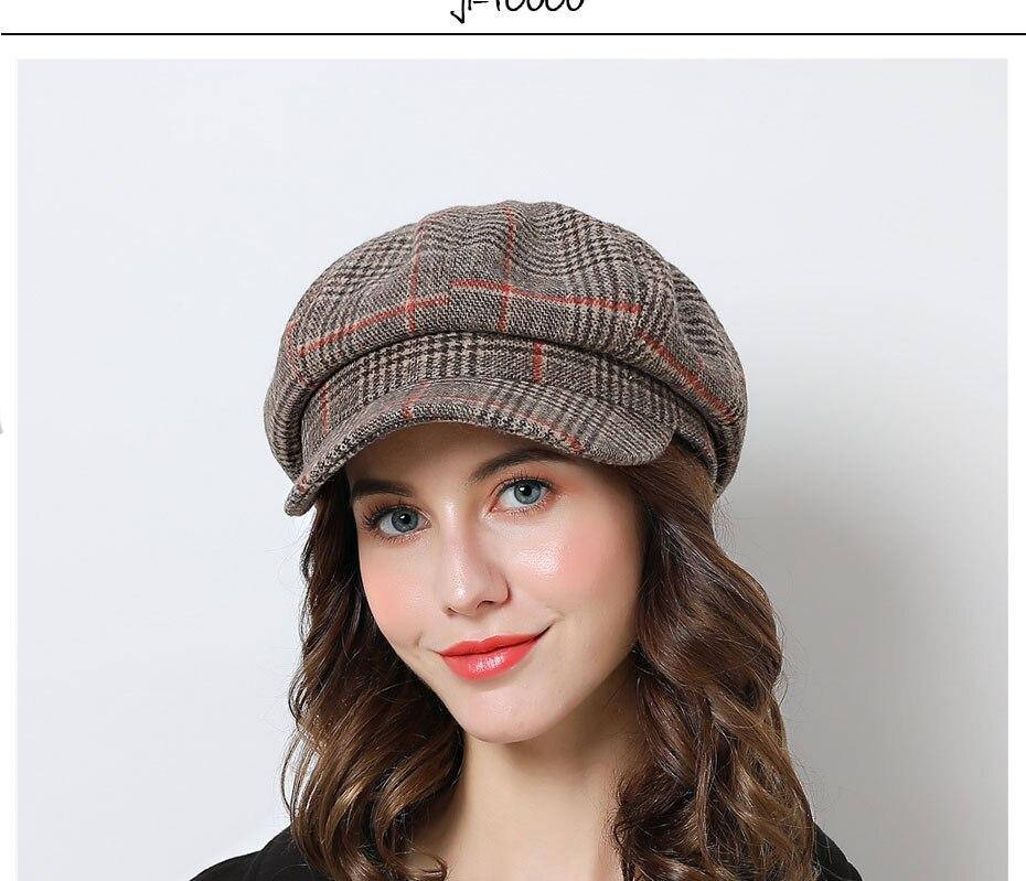 Chapeau d'hiver à carreaux Vintage