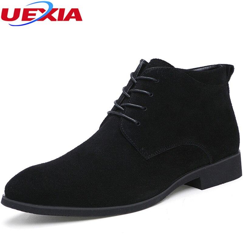 Nova Handmade Top Quality Moda Ankle Boots De Couro Camurça Homens inverno Bota de Neve Quente Dos Homens Formais Ata Acima Sapatas Dos Homens mocassins