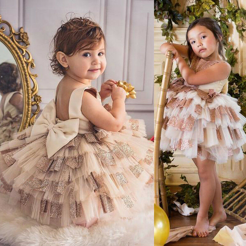 Baby Girl Toddler Party Cute Layered Lace Dress Shimmering Pageant Wedding Birthday Princess Sweet Sleeveless Patchwork Dress