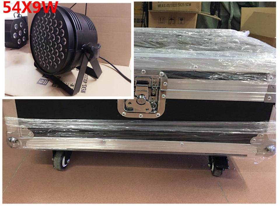 8 unids 54x9 w led par + flightcase + cable dmx dj luz del disco par led rgb 3in1 lavado dmx controlador de luz dmx цена