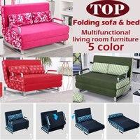 100% algodón sofá cama de espuma de alta resiliencia esponja conjunto de sofás sofá plegable multifunción salón sofá cama de metal 1.5*1.9, 6 colores