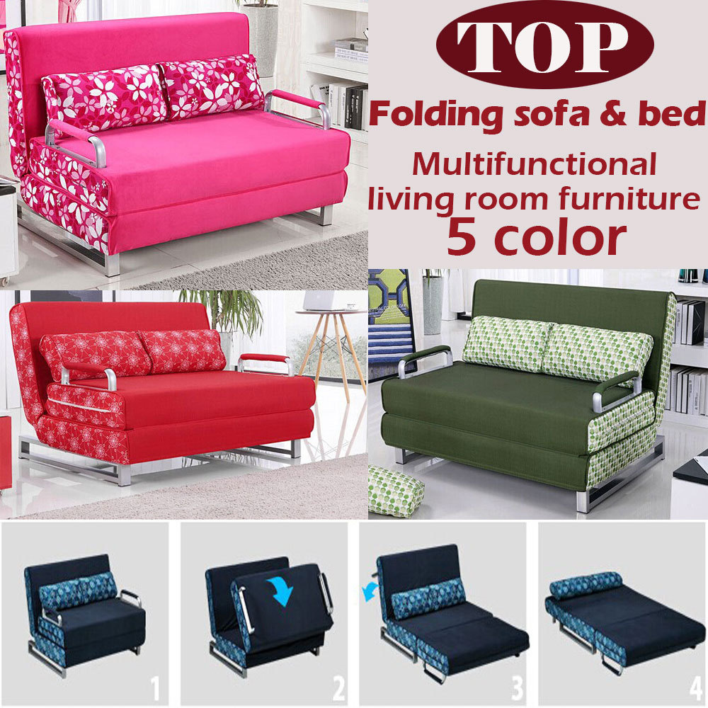Fold out chair bed for adults - 100 Cotton Sofa Bed High Resilience Foam Sponge Sofa Folding Sofa Set Multifunction Living Room Metal Sofa Bed 1 5 1 9 6 Color