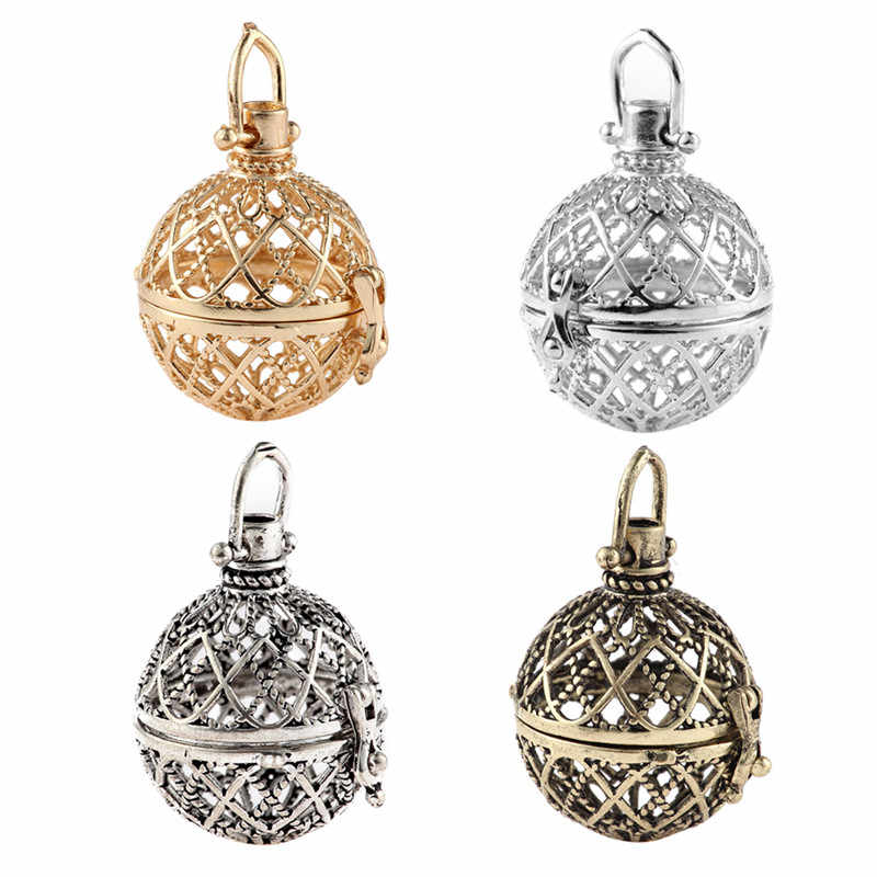 New Arrival Hollow Cage Filigree Ball Box Copper Crown Essential Oil Diffuser Locket Pendants For Making Jewelry DIY