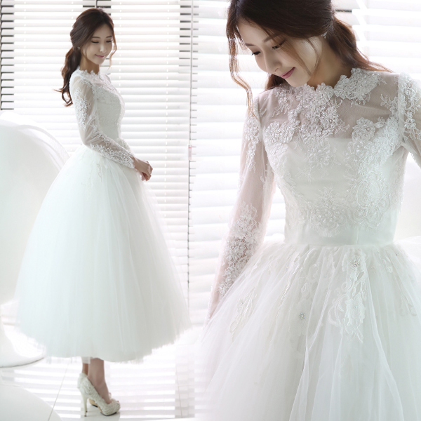 Hot Selling~Sweet Exquisite Lace Transparent O-neck Long Sleeve Wedding   Bridesmaid     Dress   596