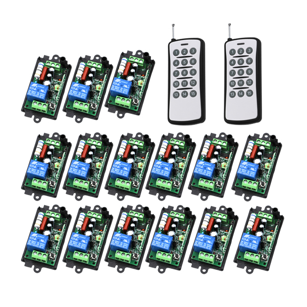 Wireless 1 Canali Interruttore di Telecomando 220 V RF Porta Del Garage Cancello 15 pz Ricevitori e 2 pz Trasmettitori 4298