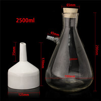 2500ml Buchner Funnel Apparatus Filteration Kit 120ml Porcelain Buchner Rubber Stopper for Vacuum Suction Lab Supplies
