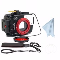 SeaFrogs 60m/195ft Waterproof Underwater Camera Case for Olympus TG5 + 67mm Red Filter 3 colors