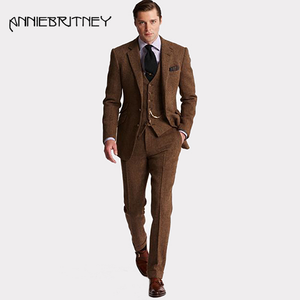 3 Piece Suit Men Brown Tweed Men Tuxedo Suits For Wedding Slim Fit Formal Business Fall Winter Jacket Vintage Costume Man Suit
