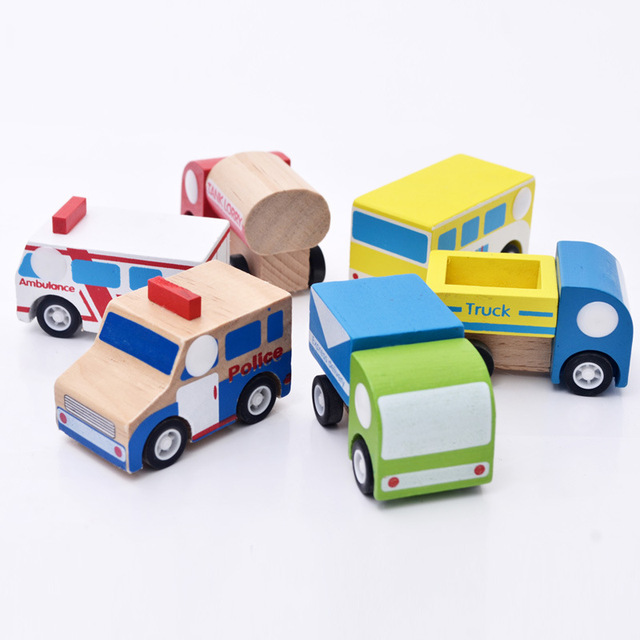 6pcs/lot Wooden Car Styling Educational Kids Toys Baby Boy's Toy Wheel Rotatable Cars Models Simulate Mini Automobiles