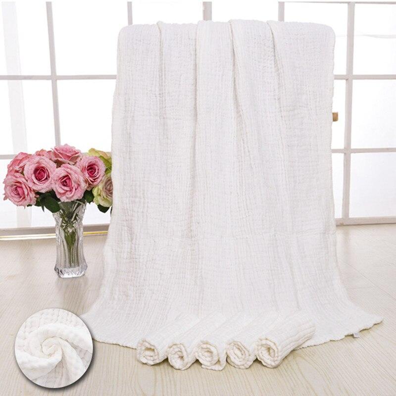 Newborn Baby Blanket Natural White Baby Bath Towel 100% Cotton 6 ...