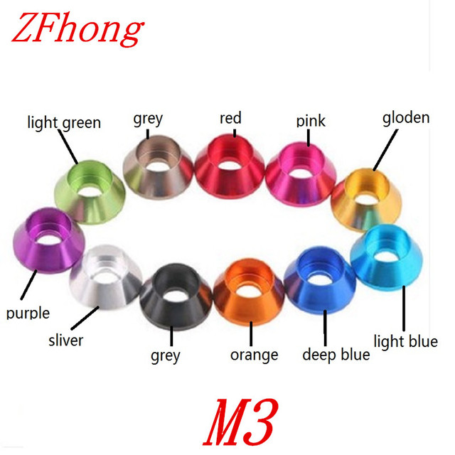 50pcs M3  Multi-Color Aluminum Washer used for hex socket head cap screw washer gasket